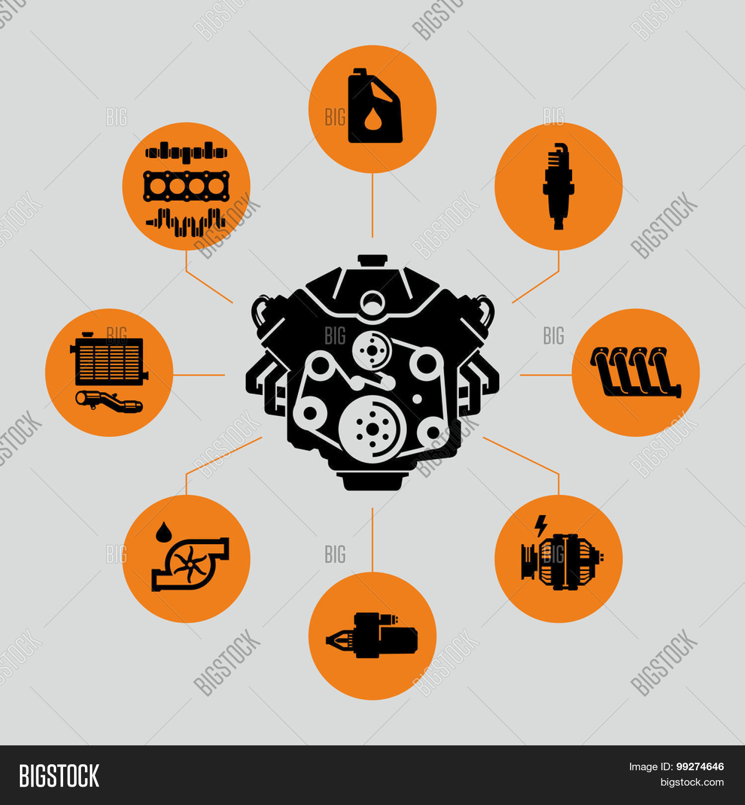 Vector Car Engine Vector & Photo (Free Trial) | Bigstock