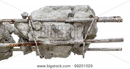 A steel rusty rods in concrete. Damaged concrete pillar isolated on white background. poster