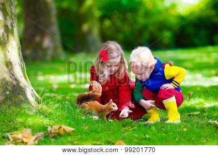 Kids Feeding Squirrel In Autumn Park