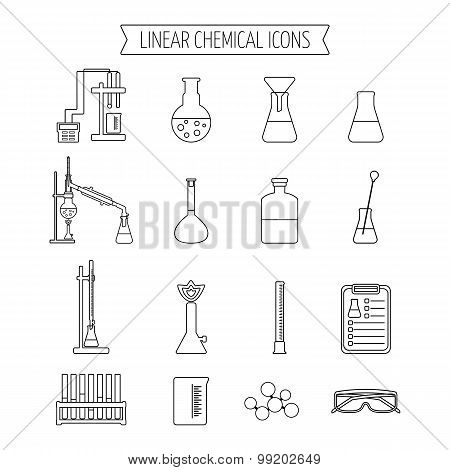 Set Of Linear Chemical Icons. Flat Design. Isolated. Vector