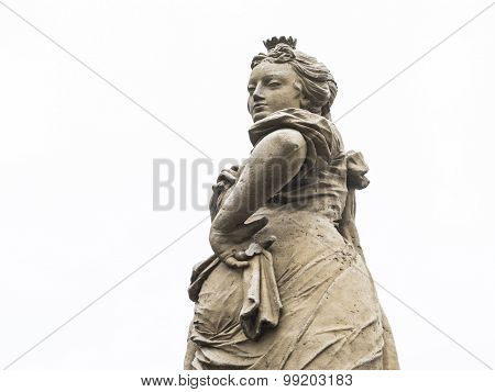 Cunning, mischievous and wily look of a woman statue. poster