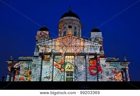 Video projection Emergence on the exterior of Helsinki Cathedral at the Lux Helsinki 2013 festival