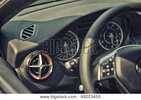 Sleza, Poland, August 15, 2015: Close Upmercedes Amg Steering Wheel And Cockpit On Motorclassic Show