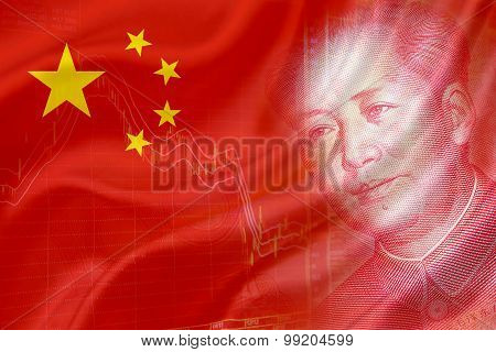 Flag Of China With A Chart Of Financial Instruments And The Face Of Mao Zedong.
