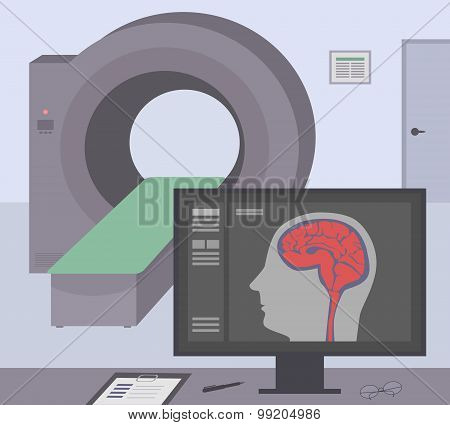 Radiologic Room With A Computer Tomograph. Mri / Ct Diagnostic Scanner And Monitor To Scan The Human