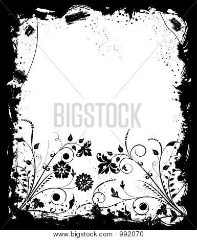grunge frame flower elements for design vector illustration poster