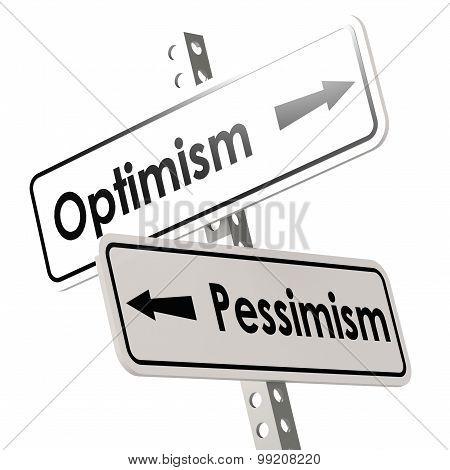Optimism And Pessimism Road Sign