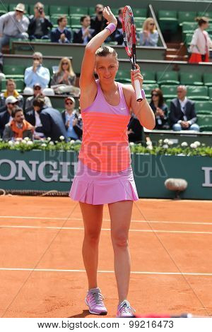 Two times Grand Slam champion Petra Kvitova celebrates victory after match at Roland Garros 2015