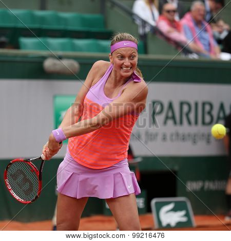 Two times Grand Slam champion Petra Kvitova in action during her second round match at Roland Garros