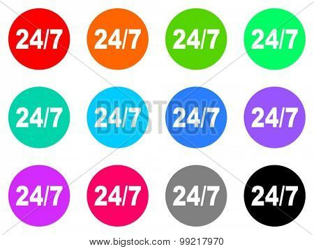 24/7 flat design modern vector circle icons colorful set for web and mobile app isolated on white background