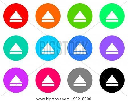 eject flat design modern vector circle icons colorful set for web and mobile app isolated on white background