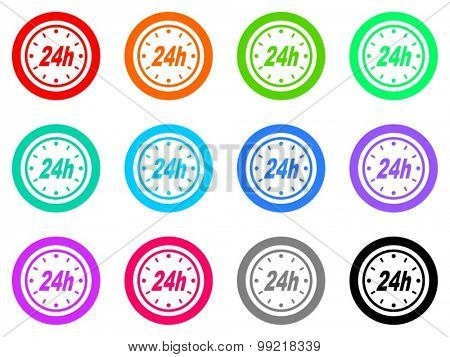 24h flat design modern vector circle icons colorful set for web and mobile app isolated on white background