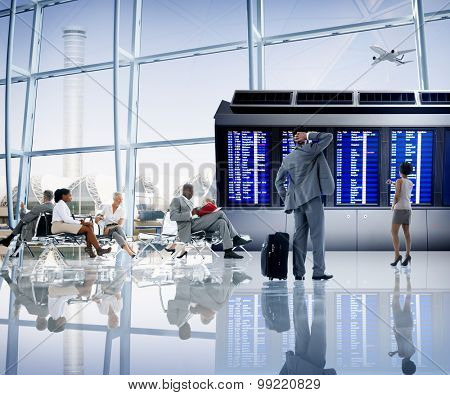 Business People Airport Terminal Travel Departure Concept poster
