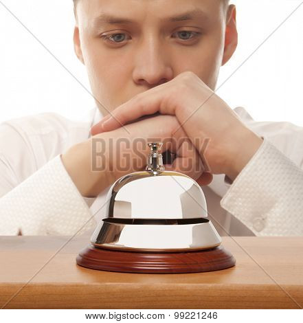 Office Concierge. Service bell at the hotel