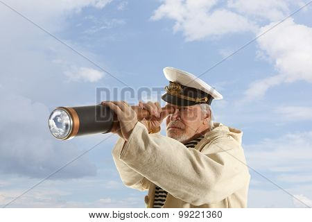 Captain looks through a telescope poster