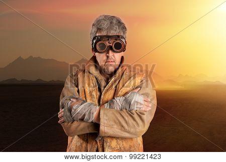 Steampunk man wearing glasses. Post-apocalypse fantasy poster