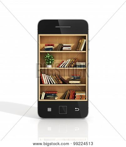 E-book Concept. Bookshelf With Book In The Phone Display.