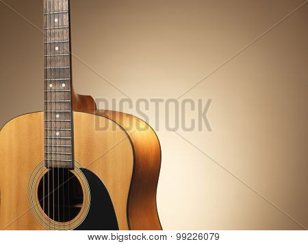 Acoustic Guitar Close Up - Stock Image