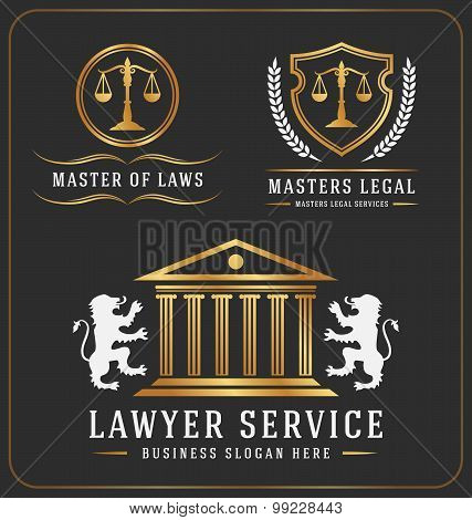 Set of lawyer service office logo template
