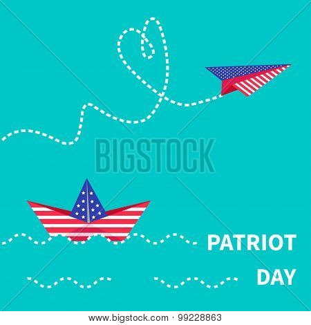 Patriot Day Background Paper Boat And Paperplane. Dash Line.