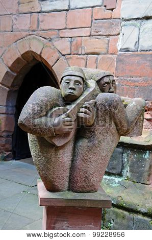 Medieval stone minstrels, Coventry.