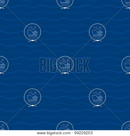 Seamless Pattern With Cargo Ship