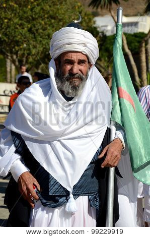 Sheik in Moors and Christians Parade. Carboneras. Spain.
