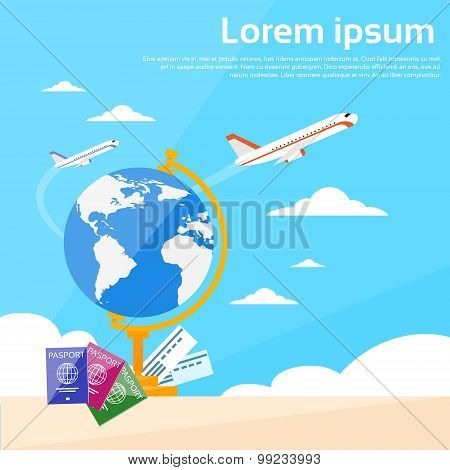 Globe Map Passport Travel Document Vacation Trip Booking Air Plane Flight World Map Flat Vector Illustration poster
