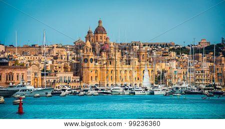 view on Birgu coast from the sea in Malta