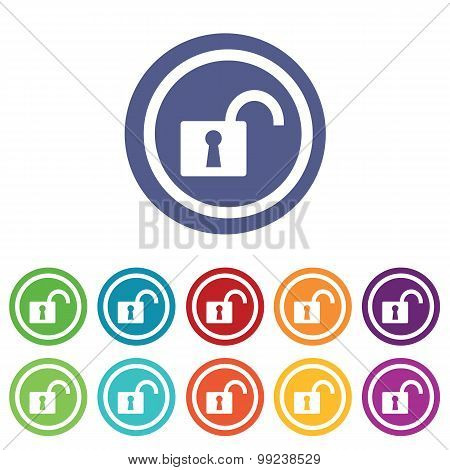 Unlocked signs set, on colored circles, isolated on white poster