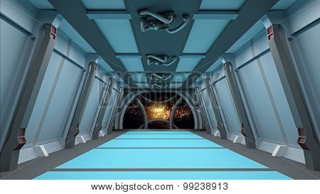 Sci Fi  Corridor With View Of Space Galaxy 3D  Render
