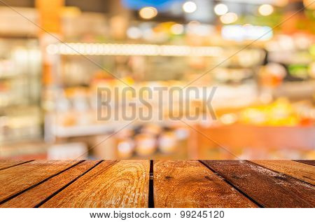 Blurred Image Of  Bakery Shop For Background Usage .
