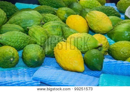 Funeral citron fruit - Etrog laid out for sale. The pre-market on Sukkot.  Autumn Jewish holiday in Jerusalem