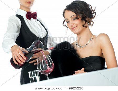 Woman Waitress Red Wine