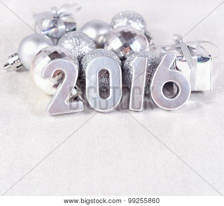 2016 Year Silver Figures And Silvery ?hristmas Decorations