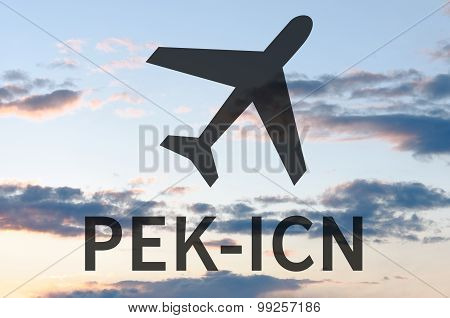 Airplane icon and inscription Icn-Pek. Blue sky on background. poster
