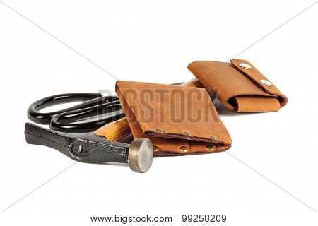 The Hummer ,scissors And Wallets  From  Leather