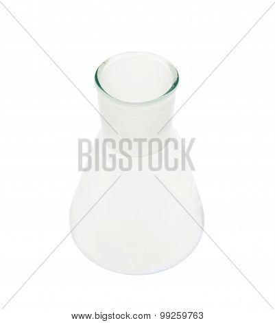 Empty Erlenmeyer glass flask isolated