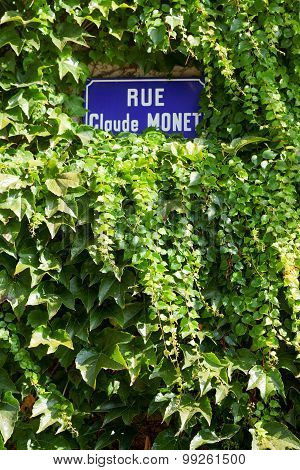 Street sign Rue Claude Monet in Giverny Claude Monet's home town poster