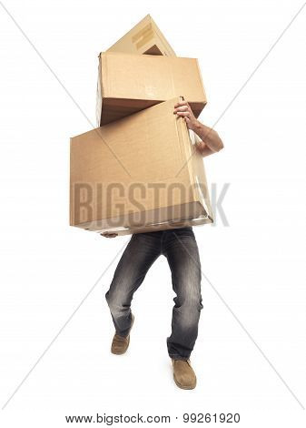 Carrying And Lifting Boxes - Stock Image