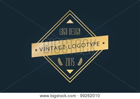 Vintage old style logo icon template. Vintage retro style. Arrows, labels, ribbons, decor, shield logo, knight logo, premium quality vector. Logo design. Retro style