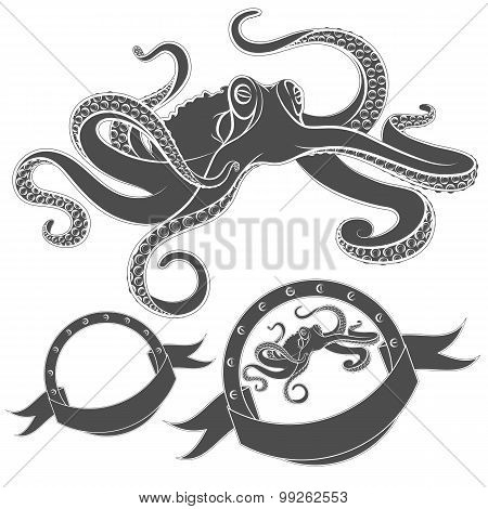 Set of vector images with octopus