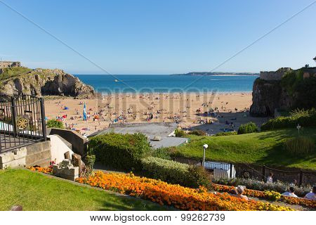Tenby castle beach South Wales beautiful weather and summer August sunshine atracted visitors