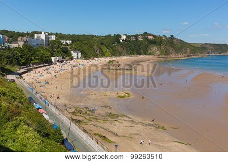 Beautiful weather and summer sun drew people to Tenby north beach South Wales