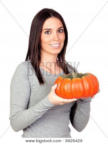 Beautiful Girl With A Big Pumpkin
