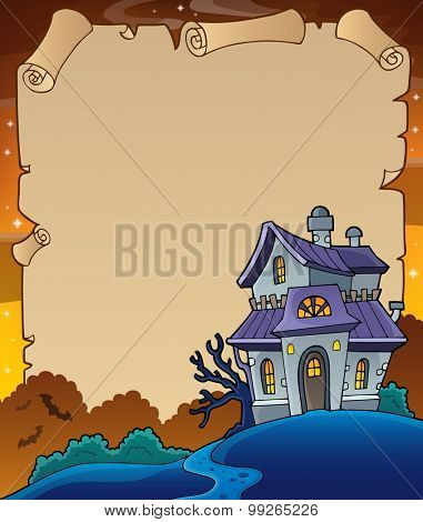 Parchment with haunted house thematics 4 - eps10 vector illustration.