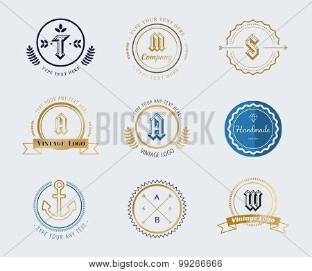 Vintage old style shield logo icon template set. Vintage retro style. Lawer logo. Arrows, labels, ribbons, decor, shield logo, knight logo, premium quality vector. Logo design. Retro style