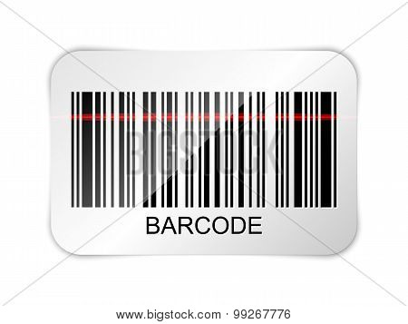 Vector barcode icon with red laser beam poster