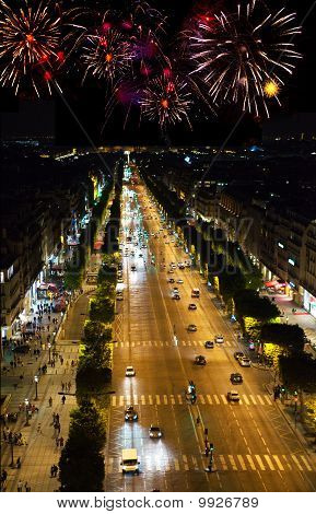 France. Paris. Celebratory fireworks over night street