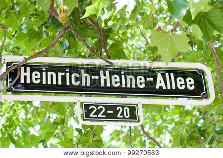 Street sign Heinrich Heine Allee in Dusseldorf Germany